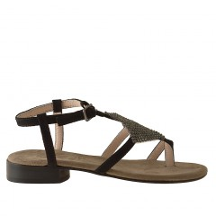 Flipflop sandal with strass in black suede - Available sizes:  31