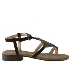Sandalo infradito da donna con strass in camoscio nero tacco 2 - Misure disponibili: 31