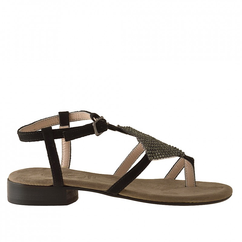 Woman's thong sandal with rhinestones in black suede heel 2 - Available sizes:  31
