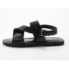 Men's sandal in black leather - Available sizes:  47
