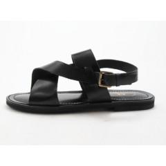 Sandale pour hommes en cuir noir - Pointures disponibles:  47