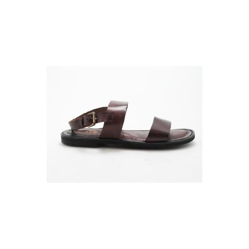 Sandalia para hombre en piel marron - Tallas disponibles:  47, 48