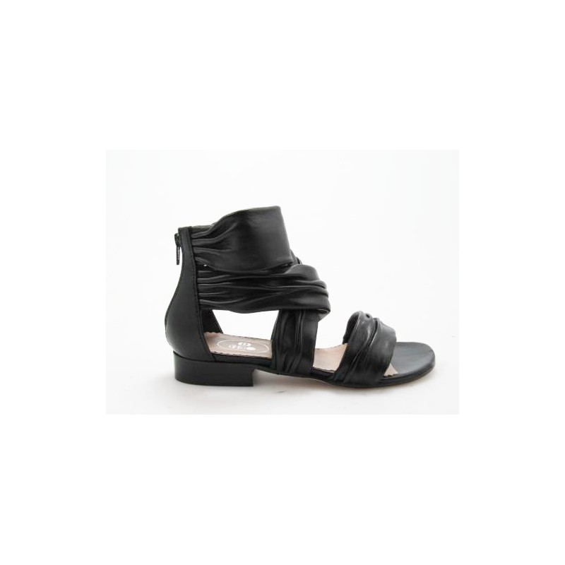 Chaussure ouvert avec fermeture éclair en cuir noir talon 3 - Pointures disponibles:  31