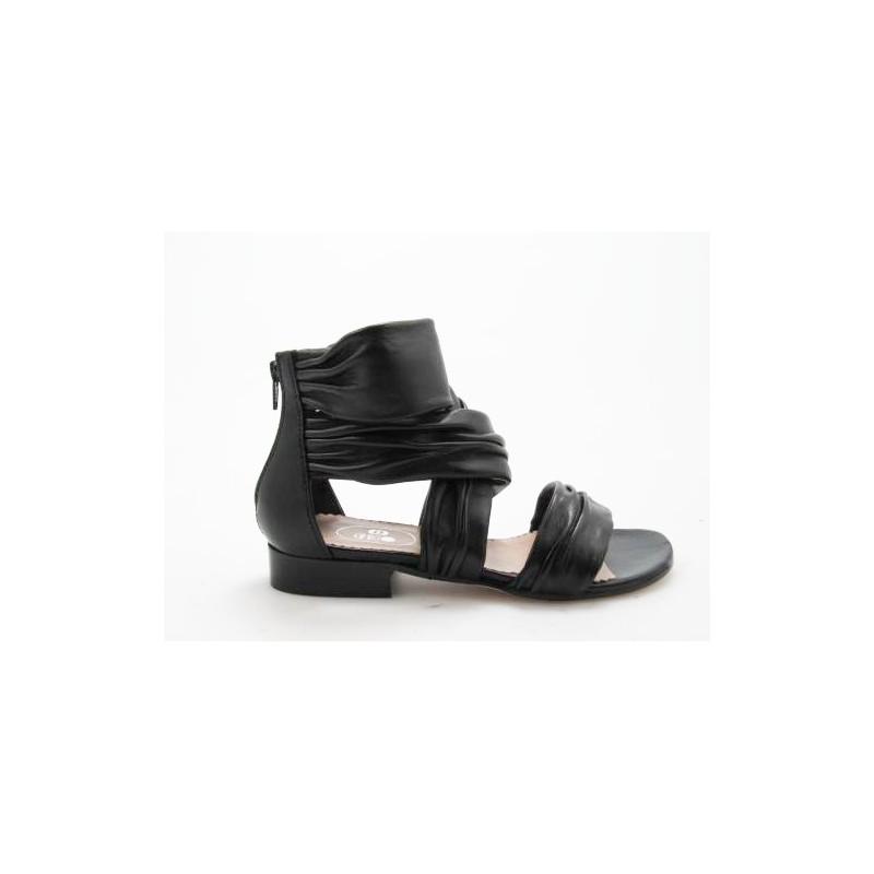 Offener Schuh mit Reissverschluss aus schwarzem Leder Absatz 3 - Verfügbare Größen:  31