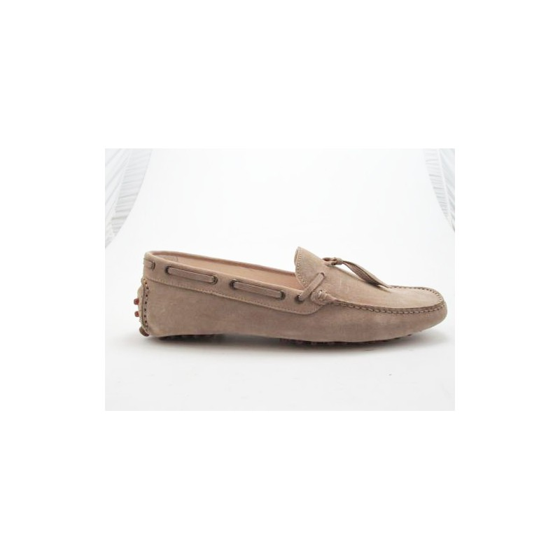 Men's car shoe in beige suede - Available sizes:  52