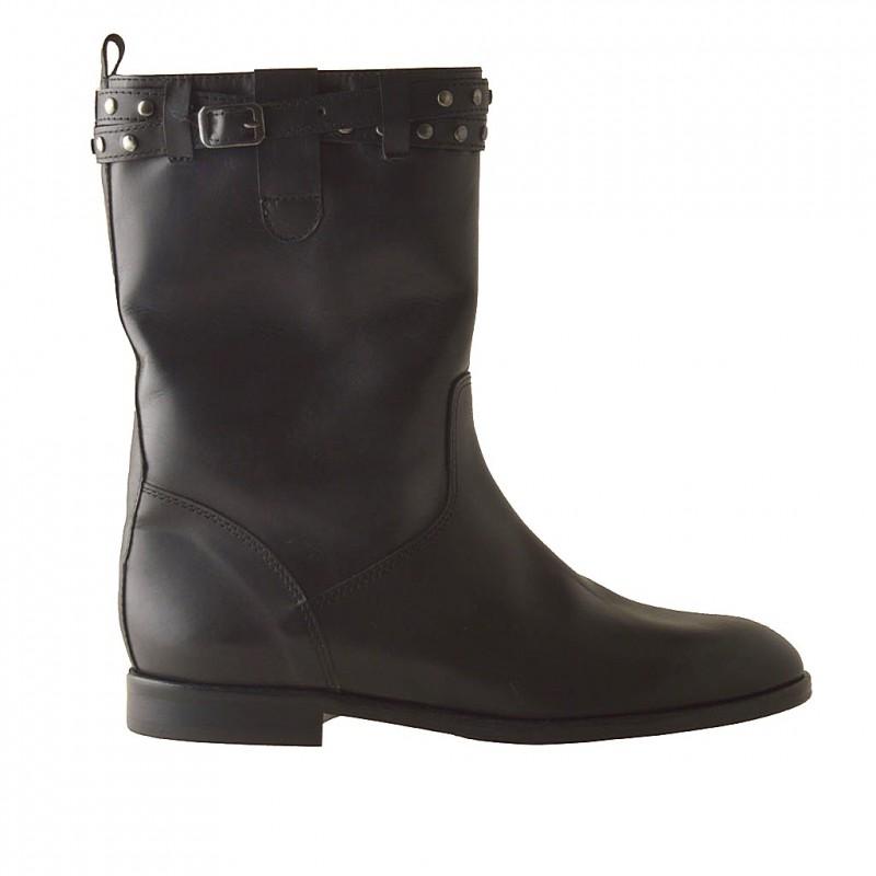 Bottines pour femmes avec boucle et goujons en cuir noir talon 1 - Pointures disponibles:  32