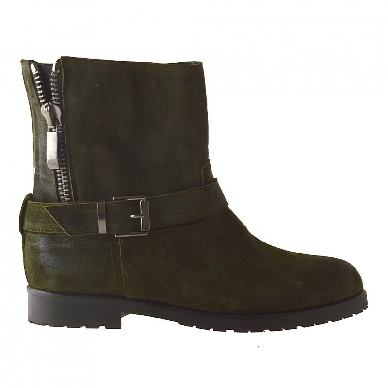 Woman ankle-boot with zipper and buckle in military green oiled suede - Available sizes:  32