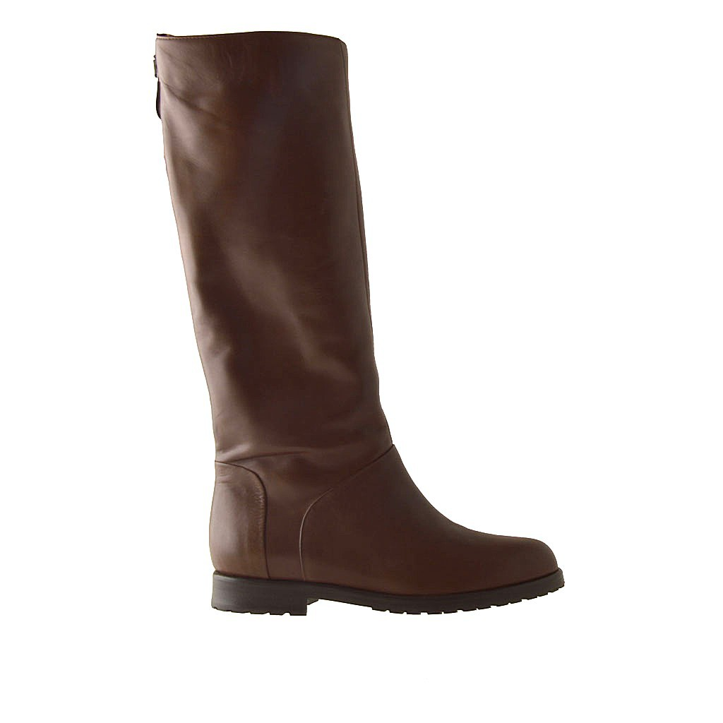 boot with zipper in brown leather and heel 1 5