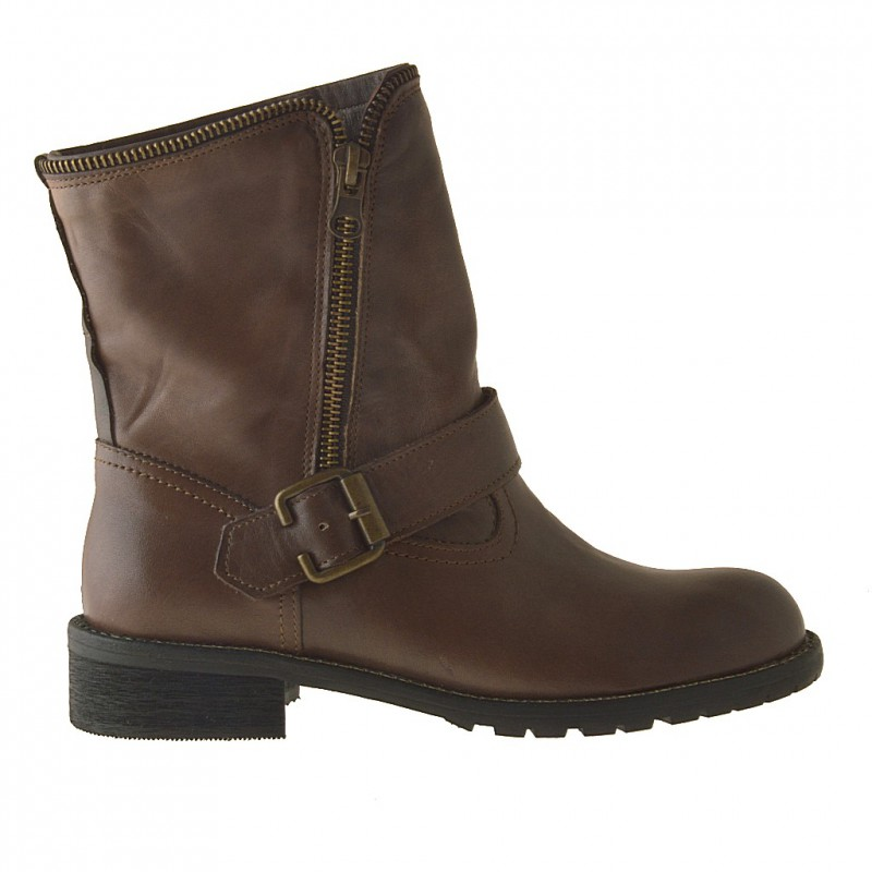 Woman's ankle boot with buckle and zipper in brown leather heel 2 - Available sizes:  32