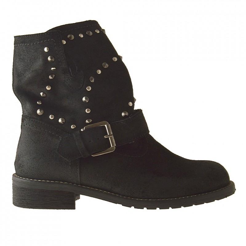 Femme bottines avec boucle et goujons en cuir nabuk noir et talon 2 - Pointures disponibles:  32