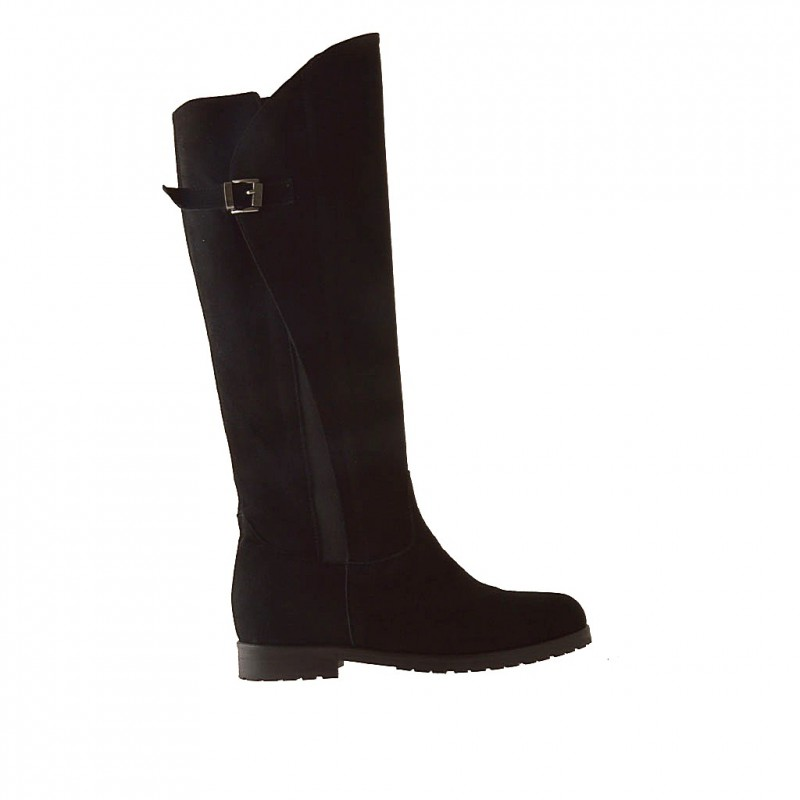 Boot with zipper + elastic and buckle in black suede - Available sizes: 32