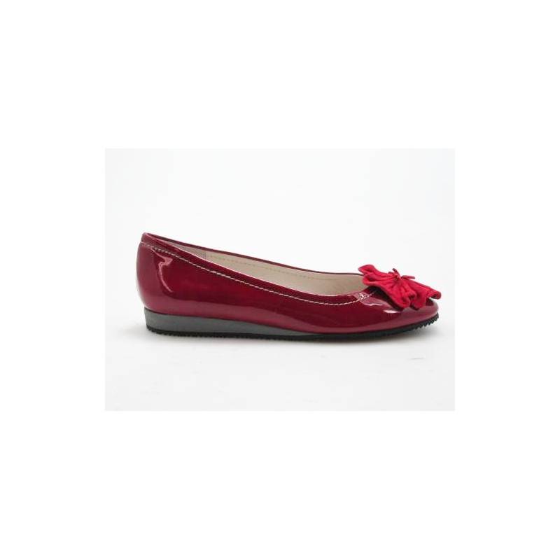 Ballerina en cuir verni et daim rouge  - Pointures disponibles:  32