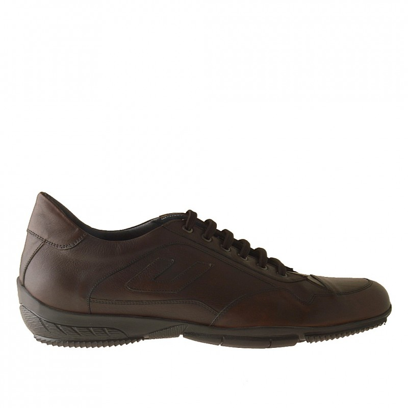 Men sportshoe with laces in brown laces - Available sizes:  51