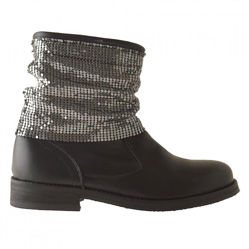 Femme bottines avec treillis métallique en cuir noir - Pointures disponibles:  42