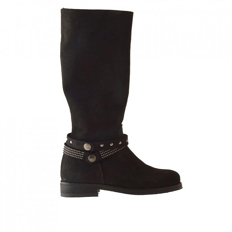 Femme bottes avec fermeture éclair et goujons en cuir nabuk noir - Pointures disponibles:  33