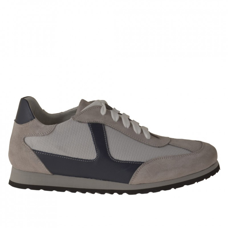 Sportlicher Herrenschuh mit Schnürsenkeln aus grauem Wildleder und Stoff und blauem Leder - Verfügbare Größen:  36, 37