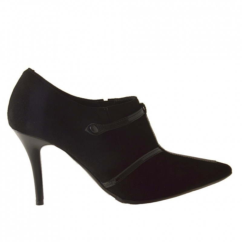 Woman ankle-high pump shoe with strap in black suede and patent leater with heel 9 - Available sizes: 42