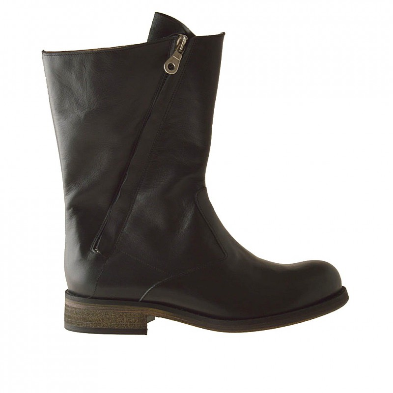 Femme bottines avec 2 fermeture éclair en cuir noir et talon 3 - Pointures disponibles:  32