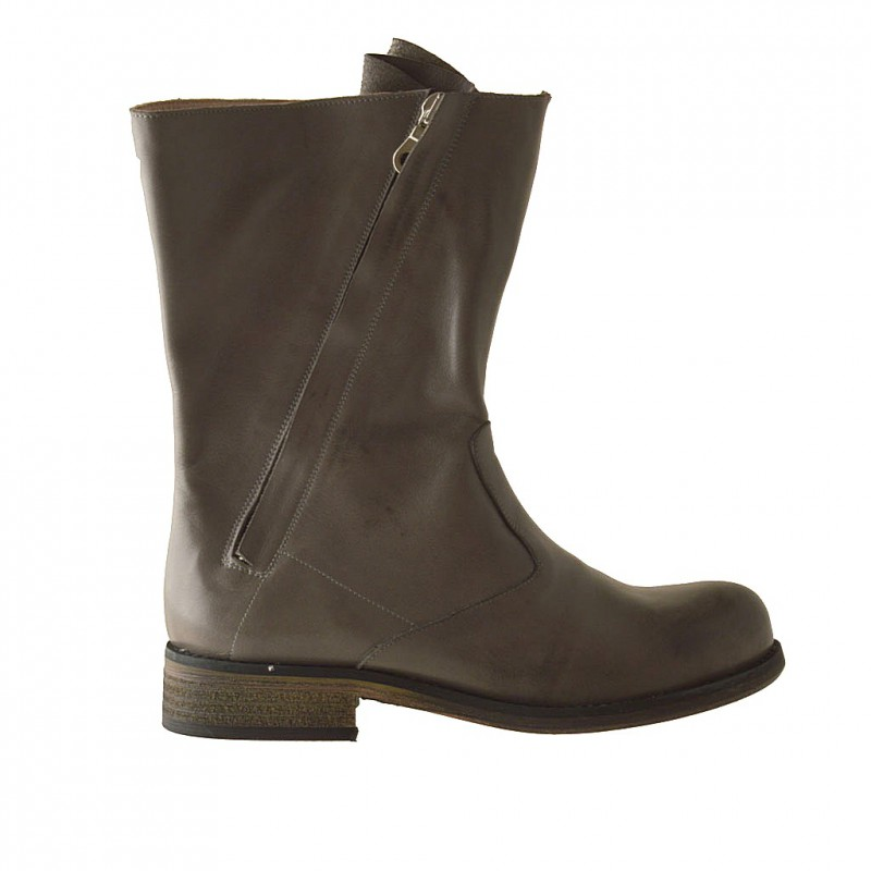 Woman's ankle boot with two zippers in grey leather heel 3 - Available sizes:  32
