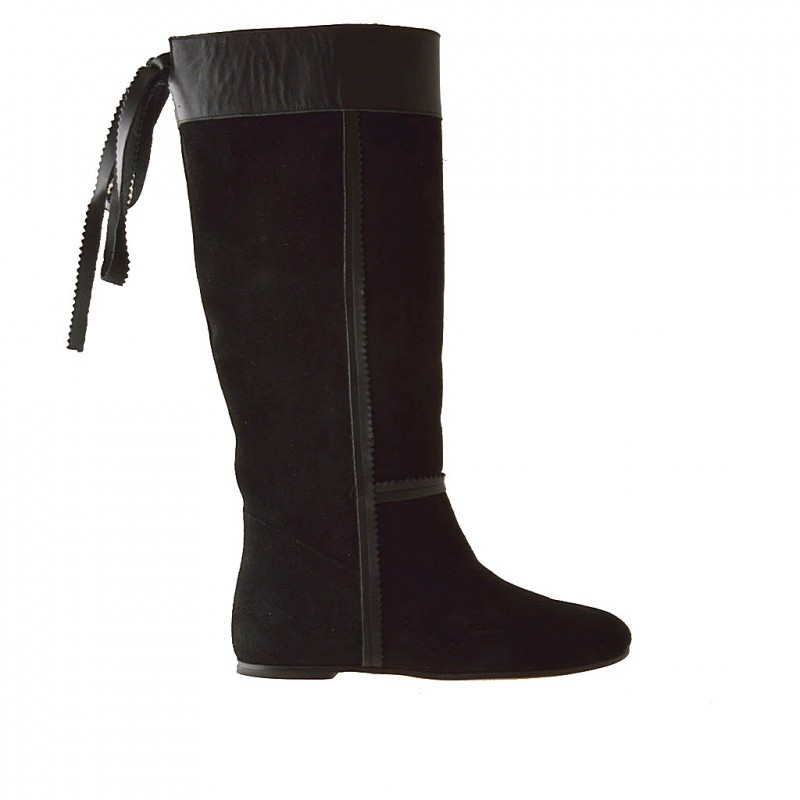 Woman riding boot in black suede and black leather and with heel 1 - Available sizes:  32, 33