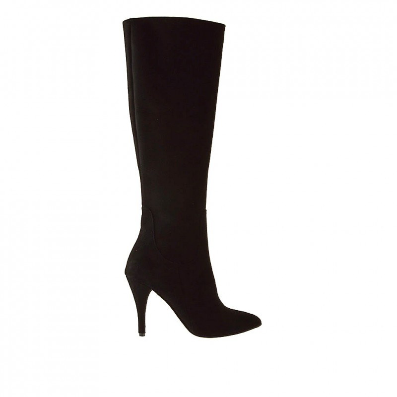 Woman boot with zipper in black suede and with heel 9 - Available sizes:  31, 32, 33