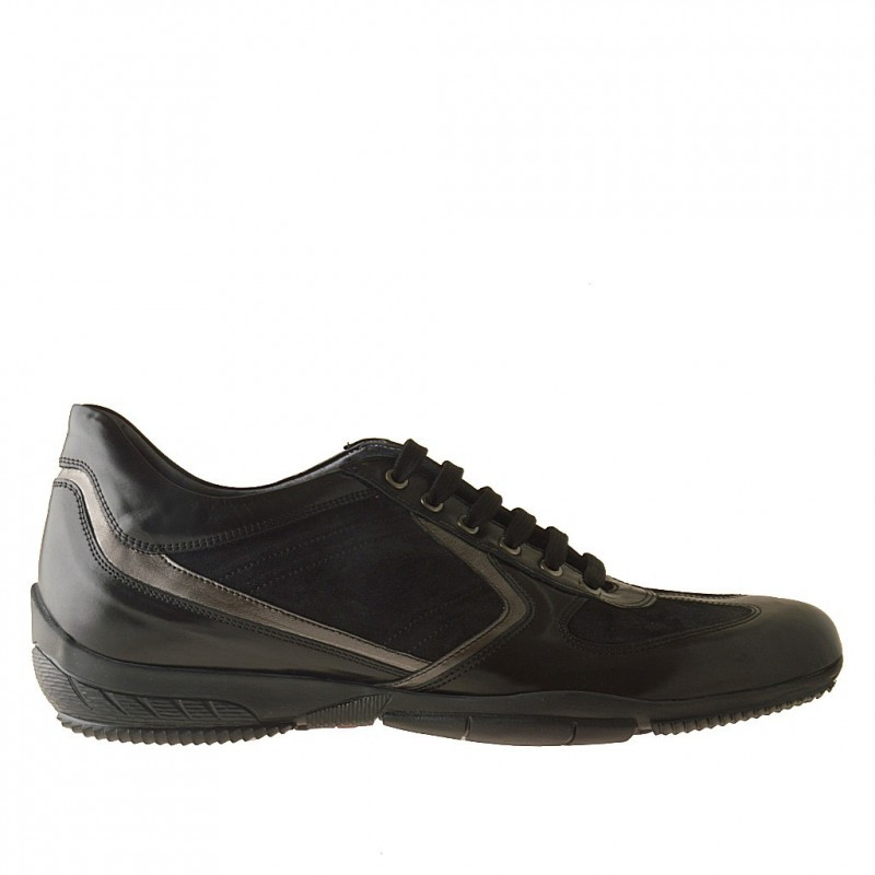 Men lace-up sportshoe with laces in black leather and suede + metallized grey leather - Available sizes:  47