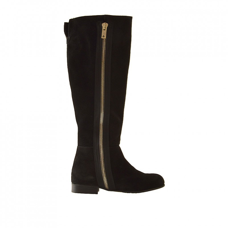 Woman boot with half zipper in black suede - Available sizes: 33