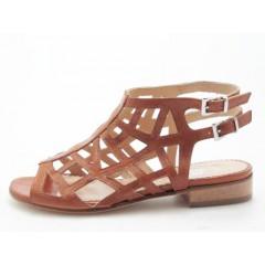 Sandalo alto alla caviglia in pelle colore cuoio - Misure disponibili: 31