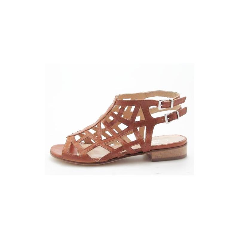Cheville-haute sandale avec courroies en cuir brun clair talon 2 - Pointures disponibles:  31