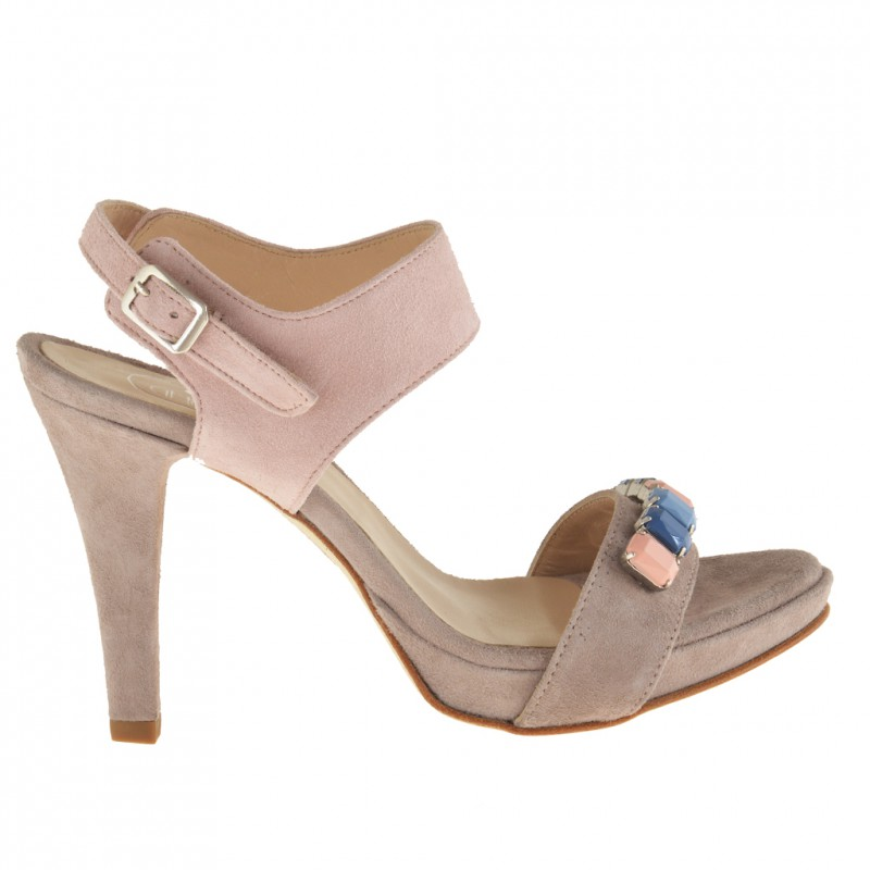 Woman sandal with ankle strap, stones and platform in dark beige and pink suede with heel 9 - Available sizes: 42