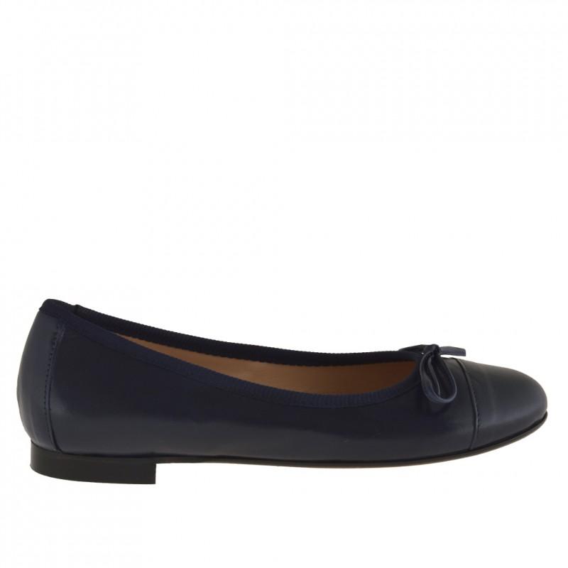 Ballerine pour femmes avec noeud en cuir bleu foncè talon 1 - Pointures disponibles:  32