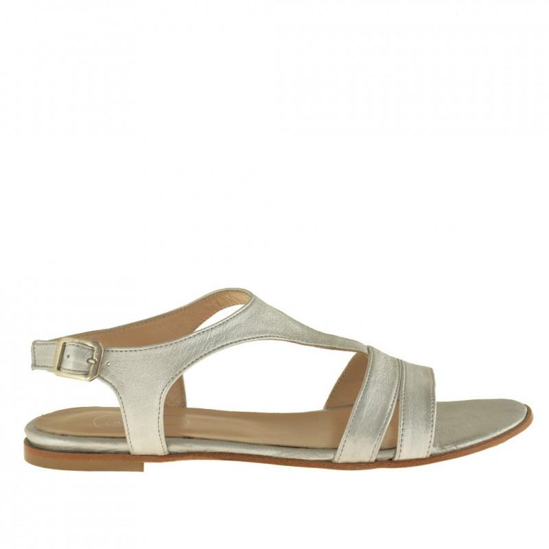 Femme bandes sandale en cuir argent avec talon 0,5 - Pointures disponibles:  32