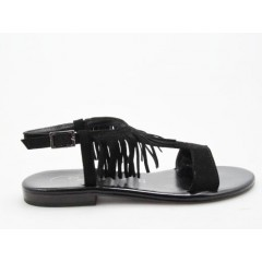 Sandal with fringes in black suedeleather - Available sizes:  31