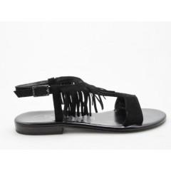 Sandalo con frange in camoscio nero tacco 1 - Misure disponibili: 31