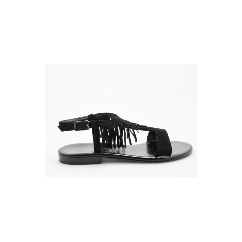 Sandal with fringes in black suede heel 1 - Available sizes:  31