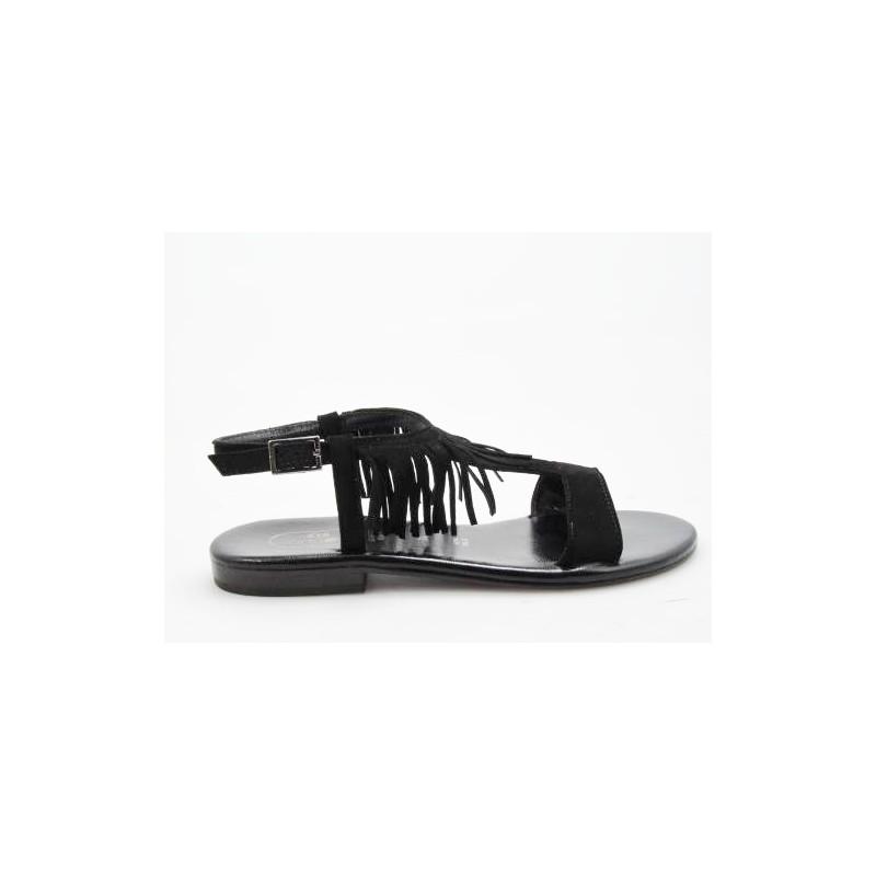 Sandalia con flecos en gamuza negra tacon 1 - Tallas disponibles:  31