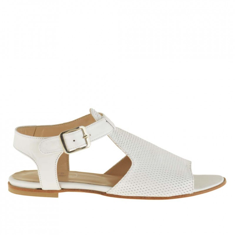 Woman's sandal with strap in white leather and pierced leather heel 1 - Available sizes:  32