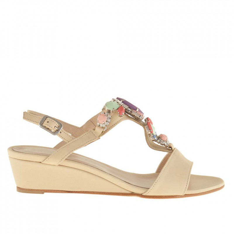 Woman sandal with strass in beige leather with wedge 3 - Available sizes: 32