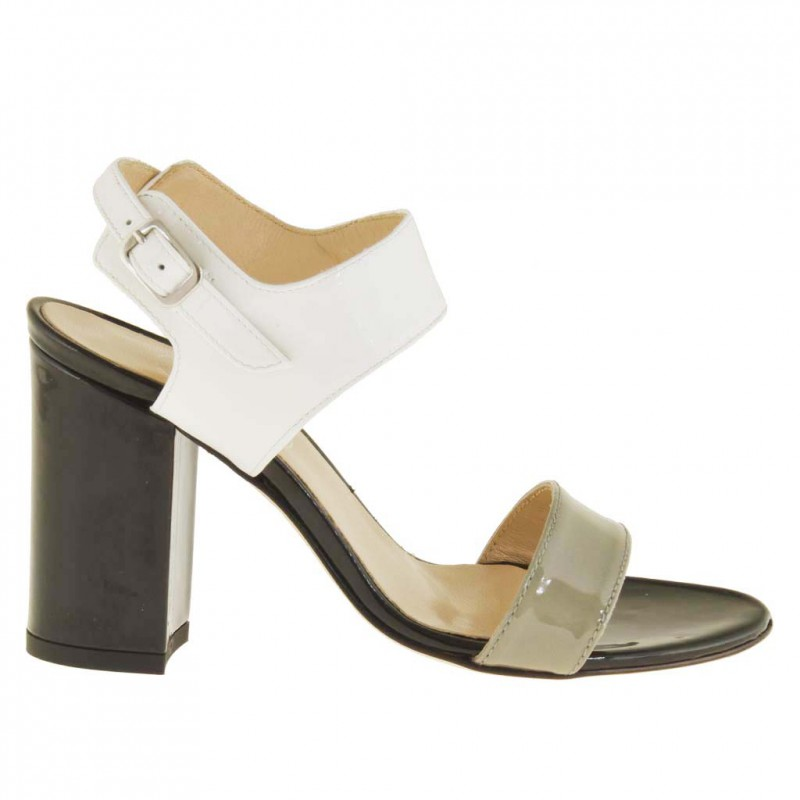 Woman sandal with anklestrap in grey, cream and black patent leather with heel 8 - Available sizes: 42