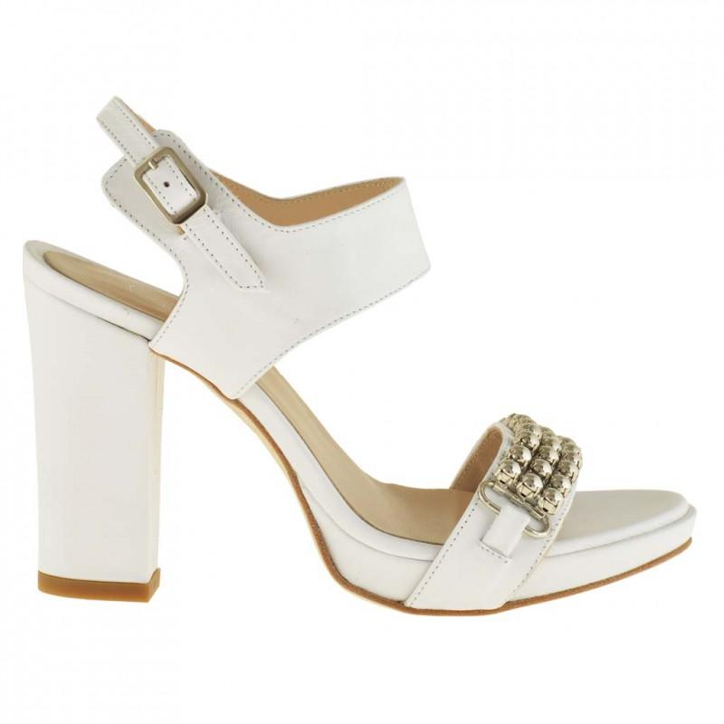 Damen Plattform Sandale mit Knöchelriem aus wei? Leder mit Absatz 9 - Verfügbare Größen:  42