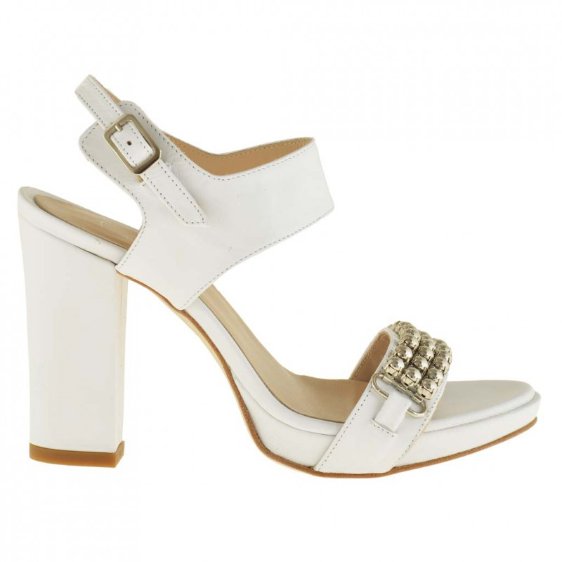 Woman platform sandal with ankle strap in white leather with heel 9 - Available sizes:  42