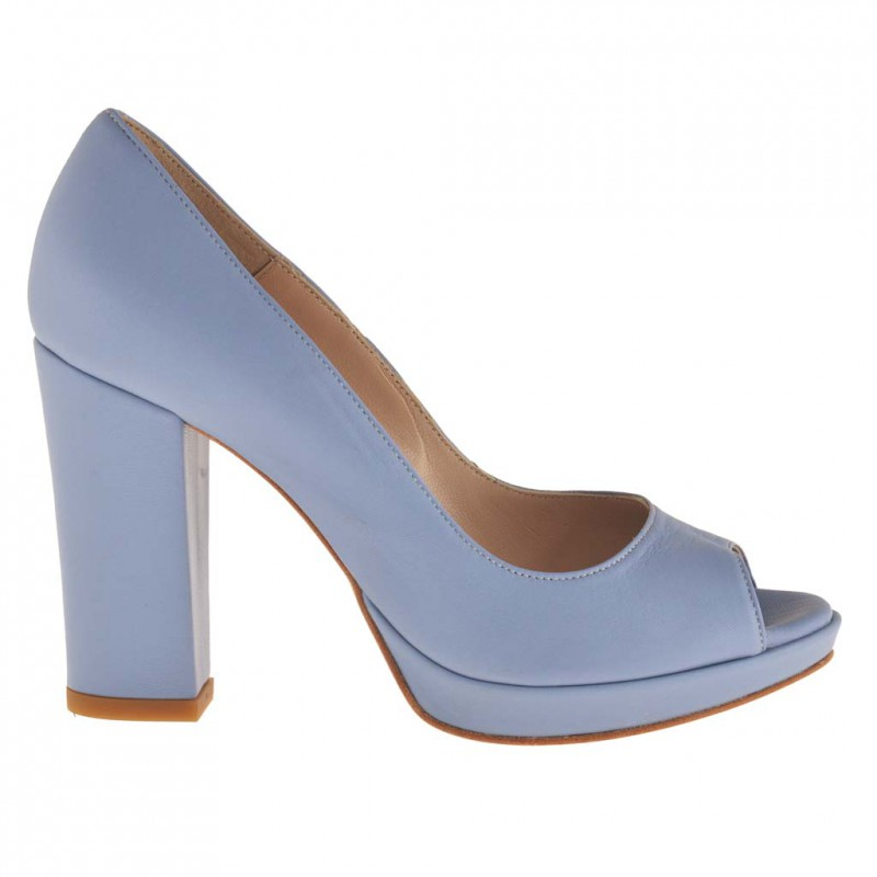 Femme escarpin à bout ouvert avec plateforme en cuir bleu clair et avec talon 90 - Pointures disponibles:  42