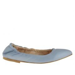 Ballerina con punta sfilata da donna con elastico in pelle azzurra tacco 1 - Misure disponibili: 32