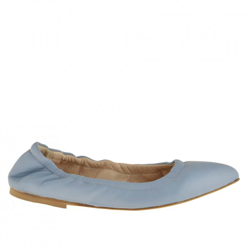 Woman's pointy ballerina shoe with elastic band in light blue leather heel 1 - Available sizes:  32