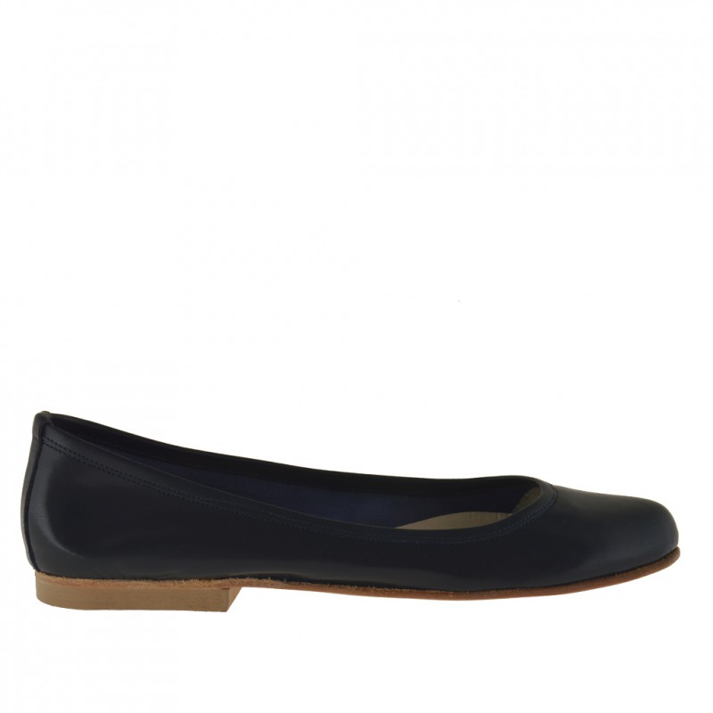 Woman's ballerina shoe in dark blue leather heel 1 - Available sizes:  32