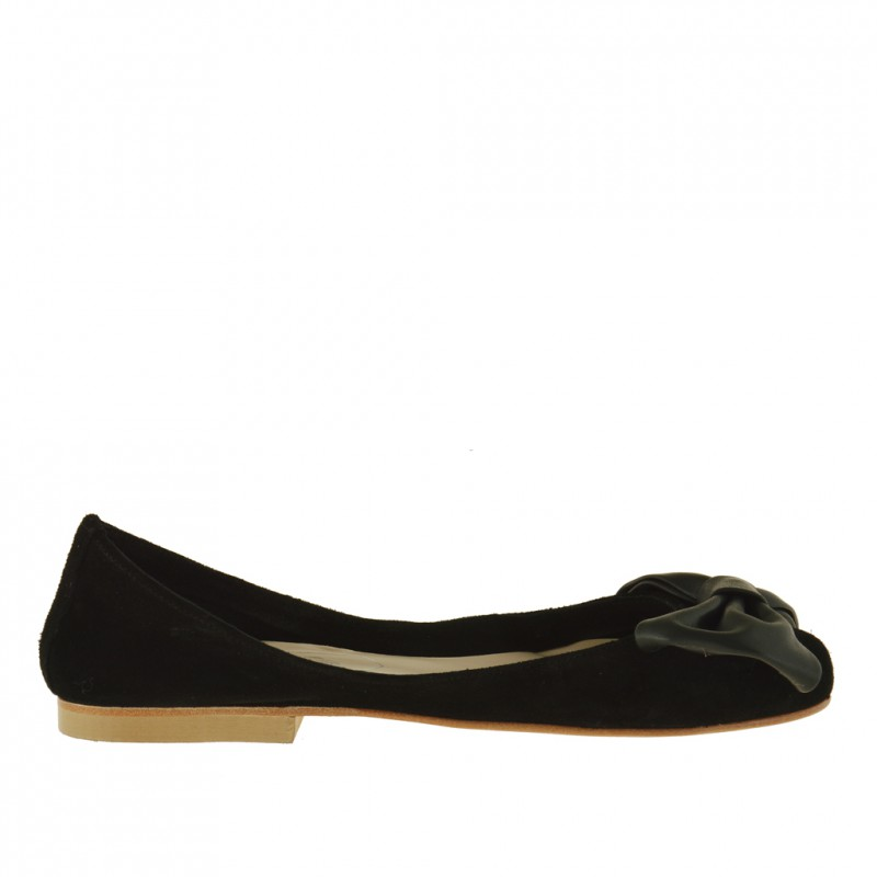 Woman ballerina shoes without lining and with bow in softly black suede - Available sizes: 32