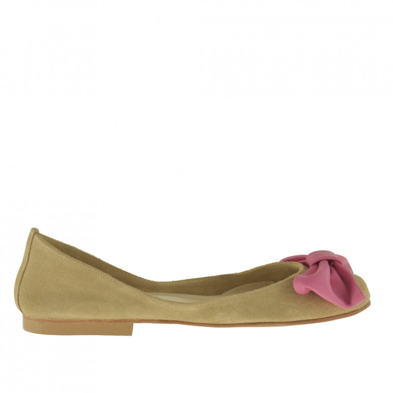 Woman's ballerina shoe with bow in beige suede and pink leather heel 1 - Available sizes:  32, 33
