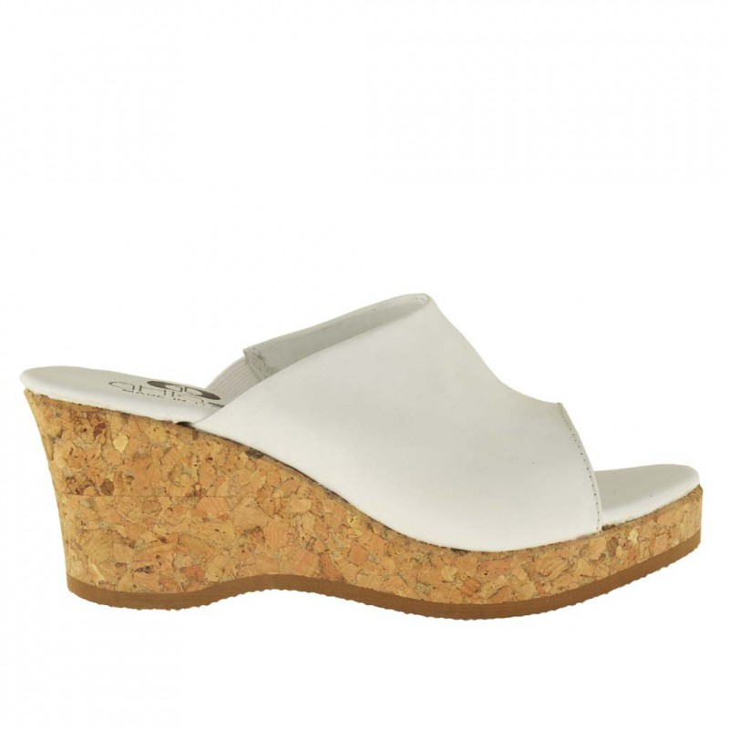 Woman open mules with cork wedge and platform in white leather - Available sizes:  42