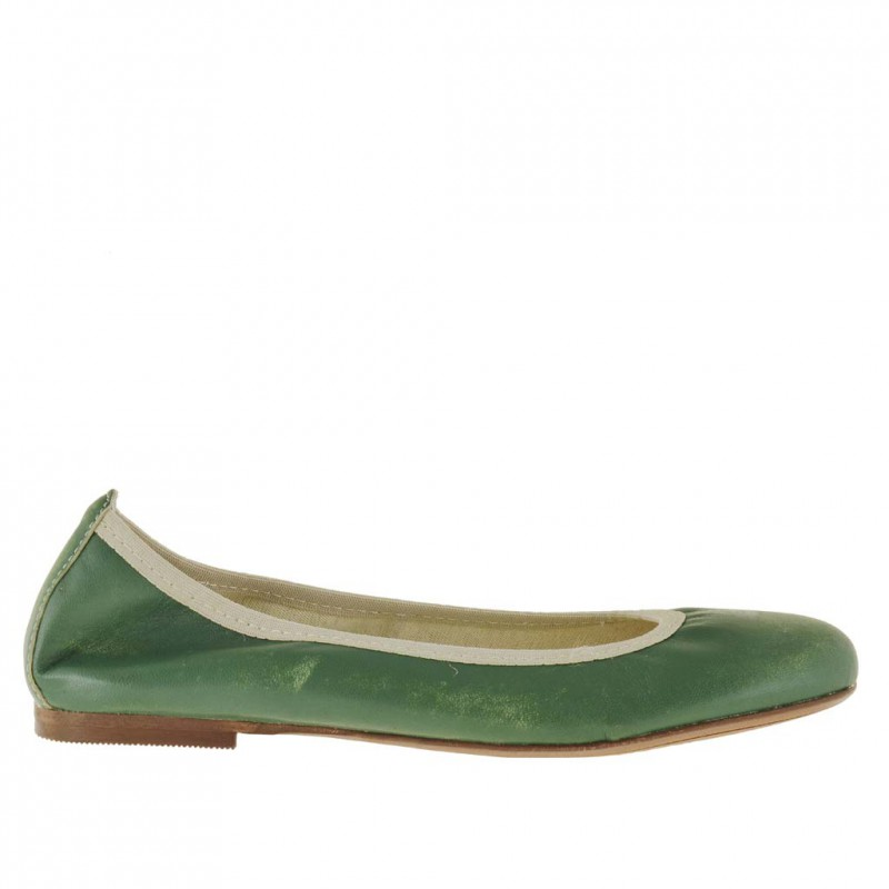 Woman ballerina shoe without lining in green vintage leather - Available sizes:  32, 33