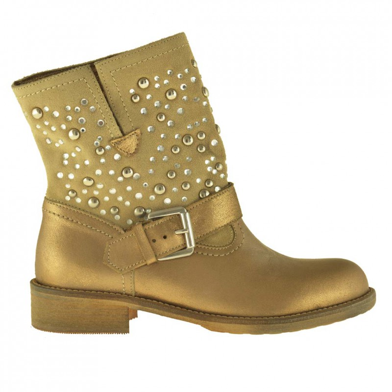 Woman ankle-boot with studs strass and buckle in gold leather  - Available sizes:  32